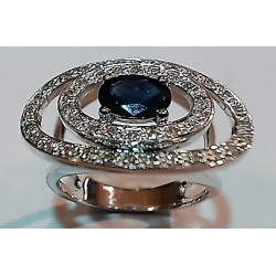 Bague Or gris 750 saphir et diamants