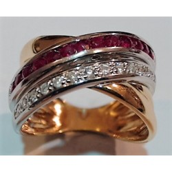 Bague OR 750 rubis et diamants