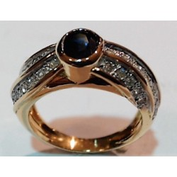 Bague OR 750 saphir et diamants