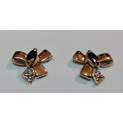 Boucles d'oreilles OR 750 bicolore saphir