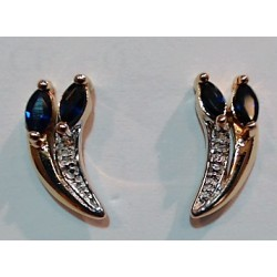 B.d'oreilles OR 750 bicolore saphirs