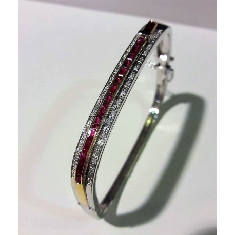 Bracelet jonc or 750 rubis et diamants